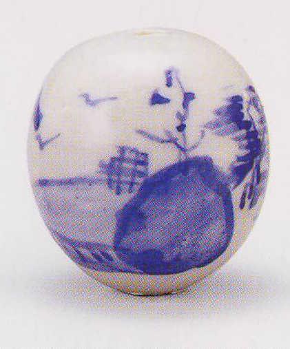 画像1: 清水焼 山水 染付 (1)