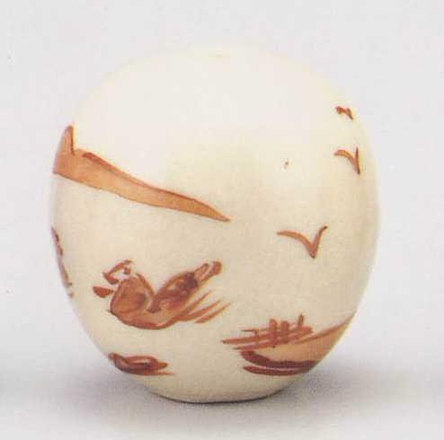 画像1: 清水焼 赤絵山水 (1)